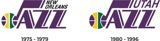New Orleans Jazz and Utah Jazz early years logo