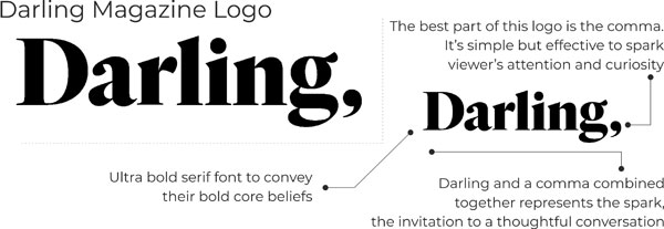 Darling magazine logo key ;points